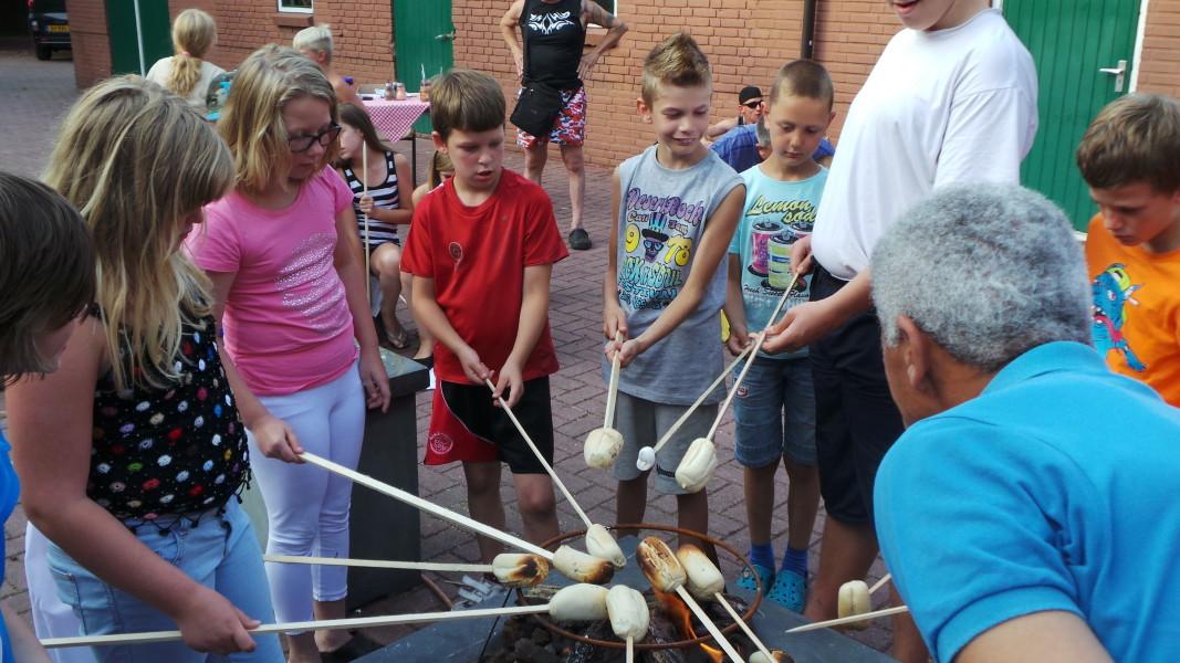 Marsmellows roosteren kinderen kinderpret camperen kamperen